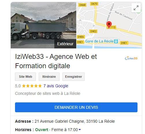 Capture écran Google My Business IziWeb33