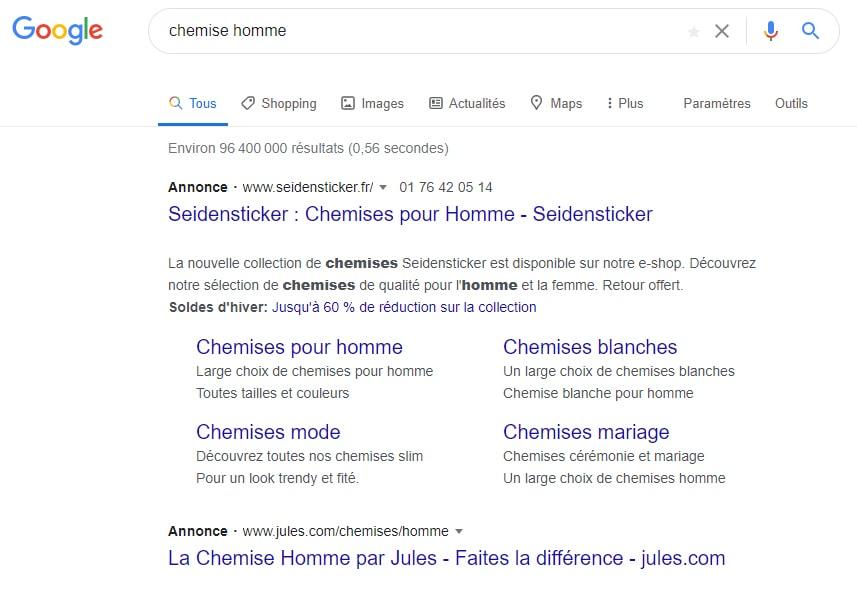 exemple d'annonce google ads